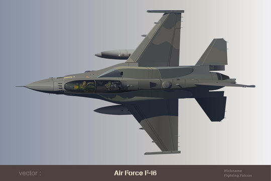 eps Vector image:Air Force F-16 Fighting Falcon