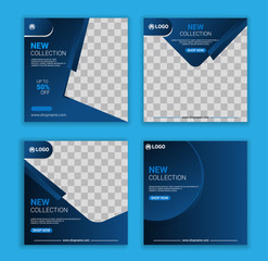 New collection social media banner template set. Modern social media post bundle vector, Design editable template for social media stories and posts