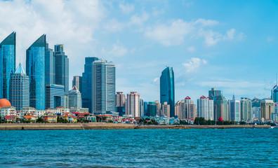 Fototapeta Modern urban architectural landscape of Qingdao, China..