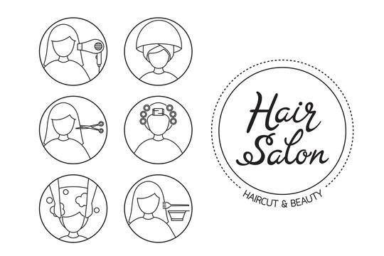 Hair Salon Sign And Icon Set Of Service, Outline