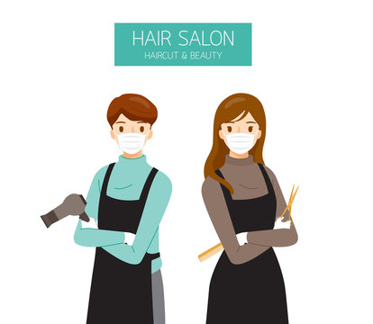 Female And Male Hairdresser Wearing Surgical Mask With Hair Salon Equipments In Hands