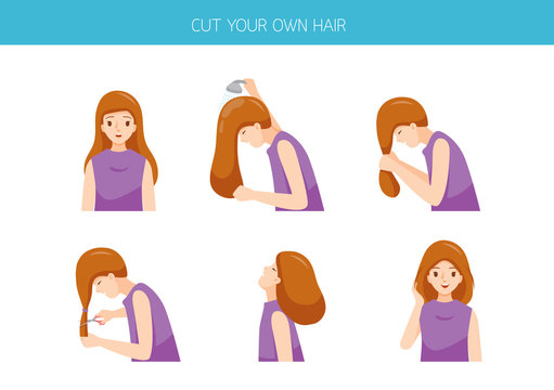 Steps Of Woman Cutting Her Own Hair At Home