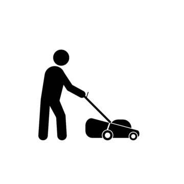 Man with lawn mower isolated on white background. Gardener with lawn mower sign