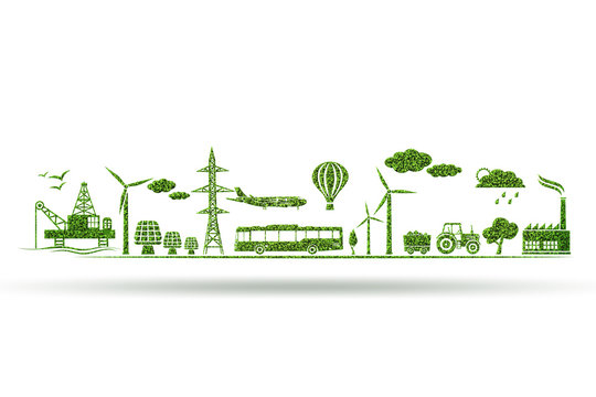Environment and ecology in green concept - 3d illustration