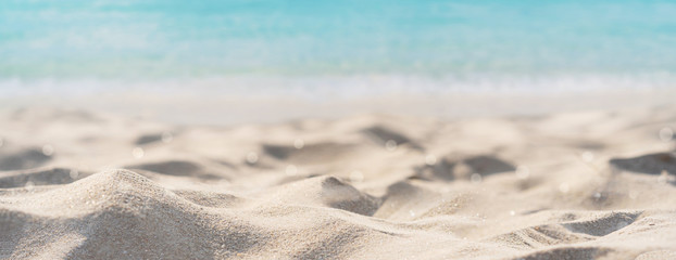 Spoed Fotobehang Bomen Tropical beautiful sand beach and clear water with copy space, Summer vacation web banner
