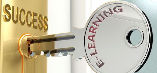 E learning and success - pictured as word E learning on a key, to symbolize that E learning helps achieving success and prosperity in life and business, 3d illustration