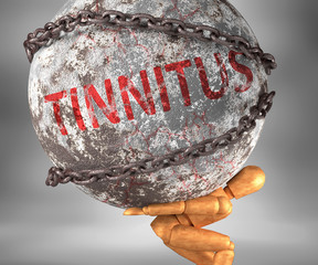 Tinnitus and hardship in life - pictured by word Tinnitus as a heavy weight on shoulders to symbolize Tinnitus as a burden, 3d illustration