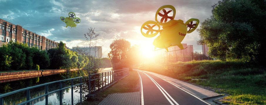 Yellow flying taxi against the sky, city electric transport drone. Car with propellers, clean air, fast ride. Mixed media, copy space.