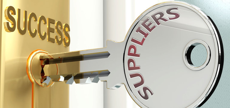 Suppliers and success - pictured as word Suppliers on a key, to symbolize that Suppliers helps achieving success and prosperity in life and business, 3d illustration