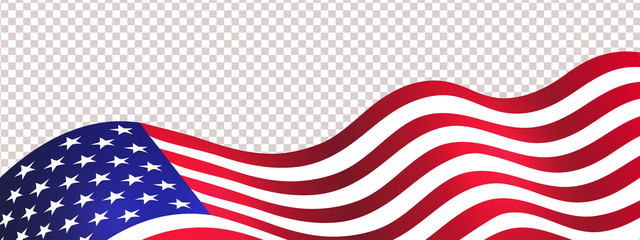 4th of July USA Independence Day. Waving american flag isolated on transparent background. Design element for sale, discount, advertisement, web. Place for your text