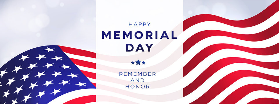 Memorial Day holiday banner, USA flag waving on bright background. Design template for sale, discount, advertisement, web. Place for your text. Vector illustration