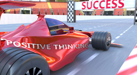 Printed roller blinds F1 Positive thinking and success - pictured as word Positive thinking and a f1 car, to symbolize that Positive thinking can help achieving success and prosperity in life and business, 3d illustration