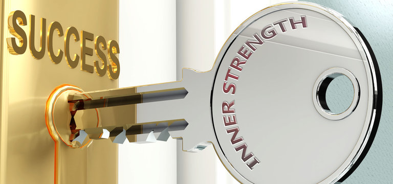 Inner strength and success - pictured as word Inner strength on a key, to symbolize that Inner strength helps achieving success and prosperity in life and business, 3d illustration