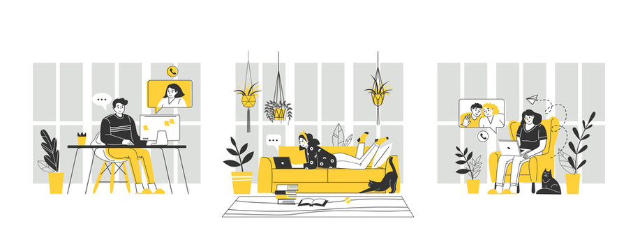 Home office workplace. Digital vector illustration. Remote work. Stay home concept. Coronavirus, quarantine isolation. Technology communication background.