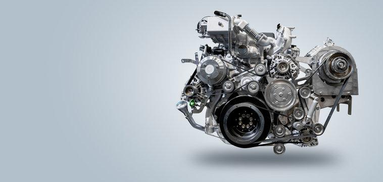 Diesel engine on gray background