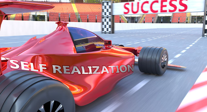 Self realization and success - pictured as word Self realization and a f1 car, to symbolize that Self realization can help achieving success and prosperity in life and business, 3d illustration