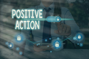 Text sign showing Positive Action. Business photo text doing good attitude against certain situation Fine reaction