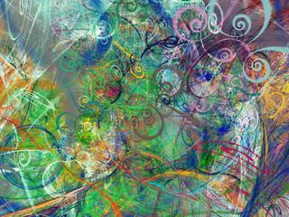 Fototapeta rainbow abstract fractal background 3d rendering illustration