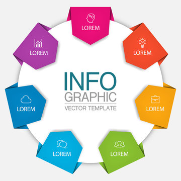 Vector iInfographic template for business, presentations, web design, 7 options.