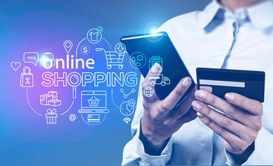 Woman with phone, online shopping interface