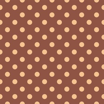 Seamless vector pastel pattern with pink beige polka dots on a dark brown background.