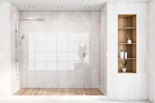 White wooden bathroom interior with shower stall