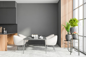 Poster de jardin Nature Gray and wooden dining room interior