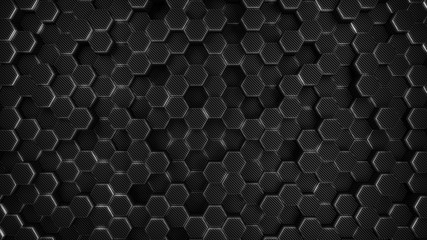 Wall Mural - carbon and chrome hexagon modern background, 3d render illustration