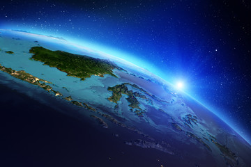 Fototapete - Planet Earth from space. 3d rendering