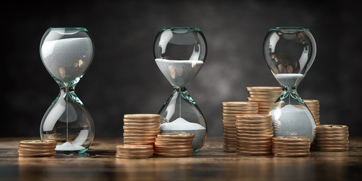 Golden coins and hourglass clock. Return on investment, deposit, growth of income and savings, time is money concept. Business success. 3d illustration