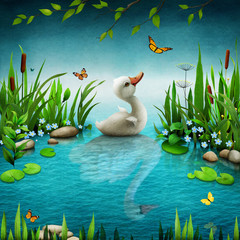 Fantasy fairy tale illustration of  little unfortunate ugly duckling, which turned  in  beautiful swan