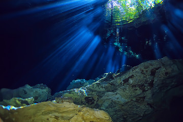 underwater landscape mexico, cenotes diving rays of light under water, cave diving background Wall mural