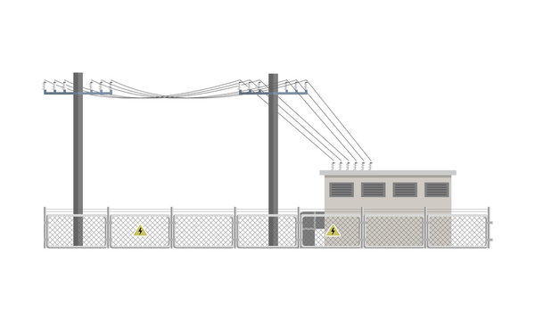 Power lines and transformer substation building fenced