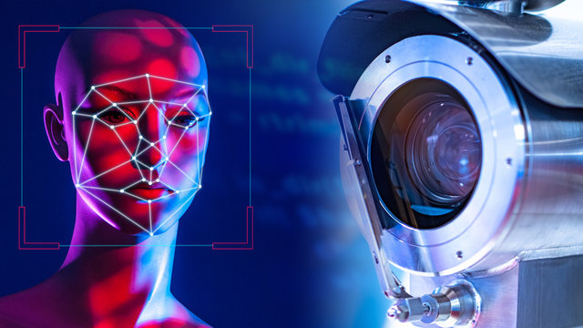 CCTV. Face recognition system. Concept camera with human identification function. Face recognition systems. Concept - big brother. Lines on the face of a man. CCTV camera on a dark background