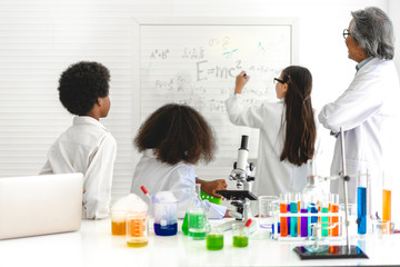 Group of teenage students learning and doing a chemical experiment teacher in the experiment...