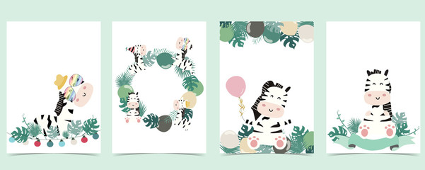 Wall Mural - Green animal collection of safari frame set with leaves,zebra vector illustration for birthday invitation,postcard,logo and sticker
