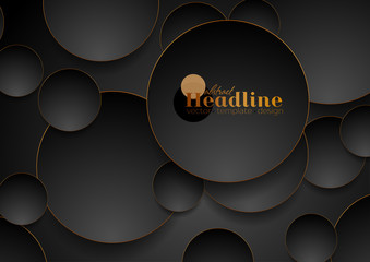 Fotobehang - Tech geometric background with abstract bronze and black circles. Vector design