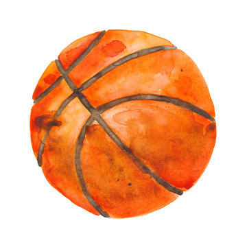 Hand-drawn watercolor illustration: basketball ball isolated on white background.