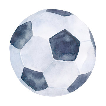 hand-drawn watercolor illustration: soccer ball isolated on white background