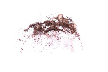 Deep brown crumbled eye shadow isolated on white background.Splatter make up and cosmetic products.