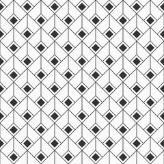 Abstract rhombuses seamless pattern. Repeating ethnic ornament. Art Deco style. Ancient mosaic. Digital paper, web, textile print, package. Vector monochrome background.