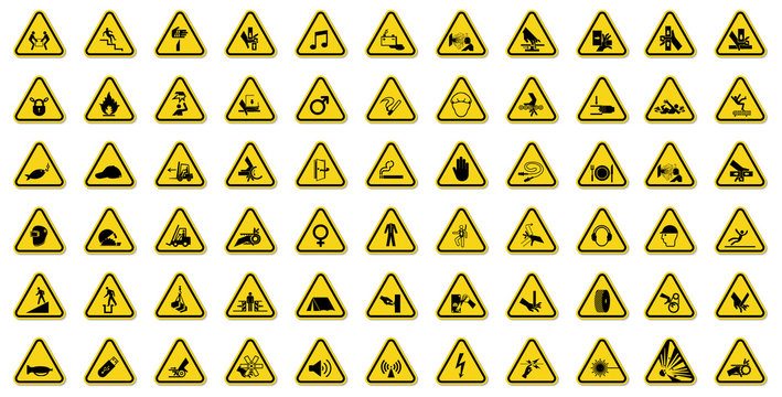 Warning Hazard Symbols labels Sign Isolate on White Background,Vector Illustration