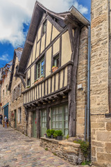 Dinan, France. Facades of buildings on the medieval Jerzual street