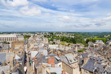Dinan, France. Aerial view of the historic town center