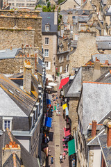 Dinan, France. Aerial view of l'Horloge street