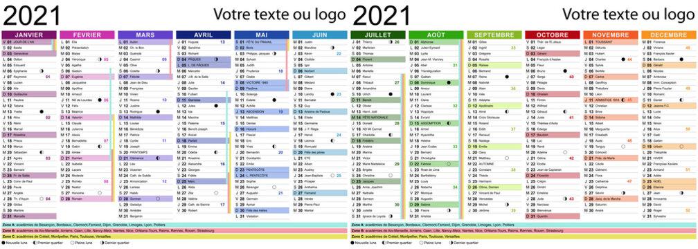 Calendrier 2021 avec fêtes, saints, vacances scolaires et cycles de la lune - Textes vectorisés et non vectorisés sur calques séparés