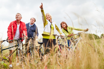 Group of active seniors makes a bike ride
