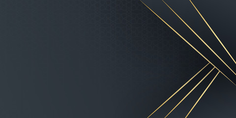 Black and gold abstract background. Modern abstract black background with gold line composition. Luxurious dark black with golden line background