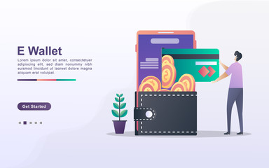 E-Wallet concept. People save money online using cards. Pay for goods shopping online with a credit card. Invest online. Can use for web landing page, banner, flyer, mobile app. Vector Illustration