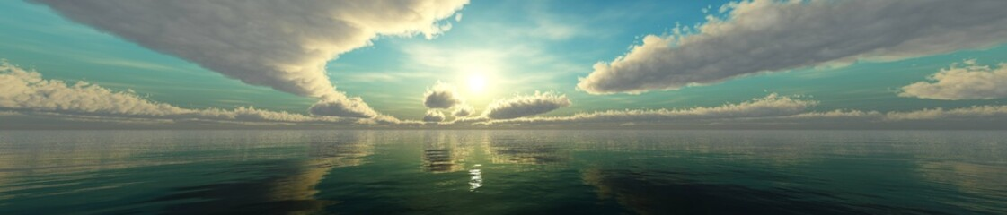 Wall Mural - Beautiful panorama of the sea landscape, panorama of sea sunset, sea sunrise, light in the sky with clouds above the water,Beautiful panorama of the sea landscape, panorama of sea sunset, sea sunrise,